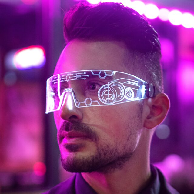 Man with future goggles on